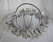 OOAK Handmade Tim Holtz Eclectic Elements Rag Basket, Handmade Rag Tie Wire Basket with Moveable Handle, ECS,