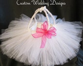 All WhiteTulle Flower Girl Basket with Begonia Sheer Ribbon Bow.  Select you bow color.