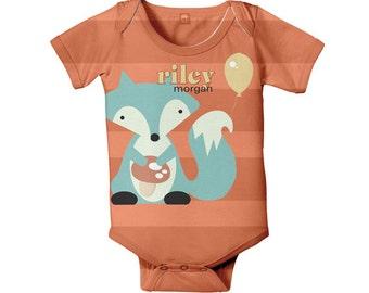 Baby Bodysuit, Personalized Fox Gender Neutral Boy Girl Infant One piece, Orange Aqua Snapsuit