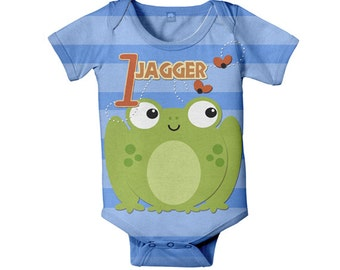 Silly Frog Bodysuit, Personalized Baby One Piece, Customized Frog Birthday Boy Snapsuit, Onepiece Baby Clothing