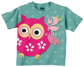 Owl Shirt, Personalized Girl's Pink and Teal Owl Birthday Girl T-Shirt, 1st 2nd 3rd 4th 5th 6th 7th 8th 9th Birthday