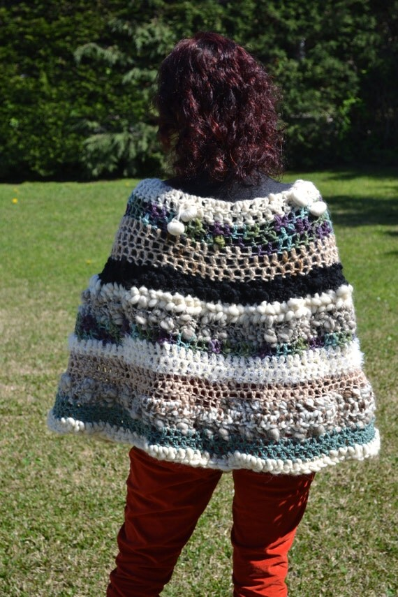 Wool Cape Knitting Pattern : Hand knitted cape/ 100% Wool Cape / hand knit Poncho by Cozyyarn