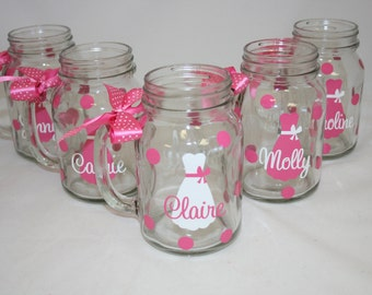 5 Personalized Mason Jar Glasses with Handle, Bride and Bridesmaids Gift