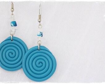 Spiral Earrings, Pastel Blue Earrings, Polymer Clay Earrings, Nautical Earrings, Dangle Earrings, Round Clay Earrings, Clay Swirl Earrings