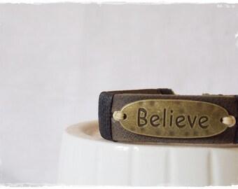 BELIEVE Bracelet, Inspirational Bracelet, Recovery Bracelet, Men's Leather Bracelet, AA Bracelet Cuff, Sobriety Bracelet Cuff, Serenity Cuff