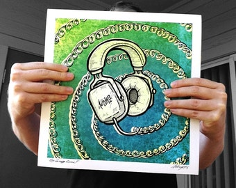 "Groovy Cans Psychedelic Headphone Print 12.5"" Signed & Numbered Archival Poster"