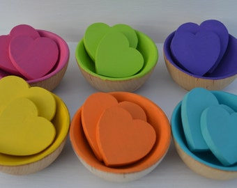 Counting Sorting Hearts Montessori Wooden Rainbow Sensory Toy A Dozen Hearts (Hearts Only)