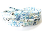 Wrap bracelet with Liberty fabric in pastel blue and white with 5x 925 Sterling silver beads, UK jewellery gift for best friend