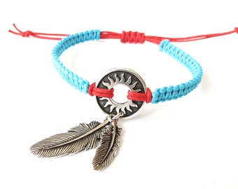 Spiritual dreamcatcher bracelet with two feather charms, native american themed jewelry in turquoise and red, size adjustable macrame wrap