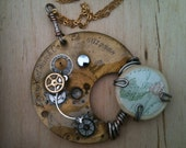 Vintage Pocket watch and  reused watch parts necklace with vintage map ( Steampunk, Industrial )