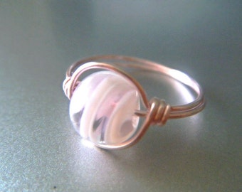 Pink Lampwork Ring - Pink Wire - Swirl - Made to Order