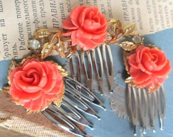 Coral Hair Combs Spring Accessories Repurposed Vintage Fashion Jewelry
