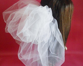 White Bridal Bubble Veil,Bubble Veil, White Wedding Veil