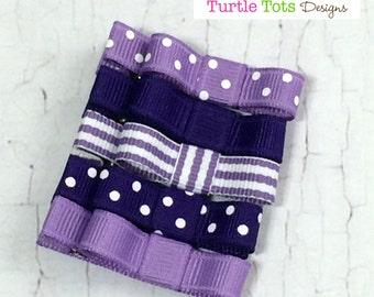 Purple Tuxedo Bow Starter Set, Girls Hair Clips, Tuxedo Bow Alligator Hair Clip Set of 5, Babies Toddler Girls Women
