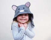 Childrens wild things mouse hat in grey cord with applique ears and face