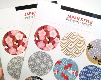 JAPANESE STYLE Pattern Sticker Sheet: 9 Pieces
