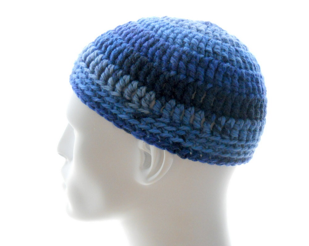 Kufi Beanie Hat Crochet Pattern : Wool Kufi Hat Mens Crocheted Denim Blues Beanie by ...