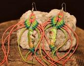 Ocean Inspired Macrame Hemp Seahorse Beaded Jelly Fish Earrings, Silver Plated French Style Hooks