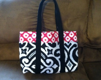 Pink & Black Canvas Tote Bag