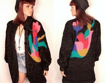 25% OFF SALE // 1980s sweater coat // abstract pattern