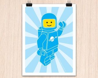 "Lego 9x12"" Hello SpaceBoy Blue (Color Print)"