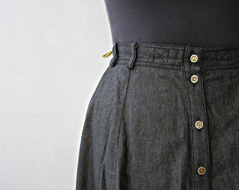 80s Black Denim Midi Tiered skirt Size M L 40, A line Buttoned stretchy waist Day skirt, Retro fashion, Casual cotton Folded  belted Skirt
