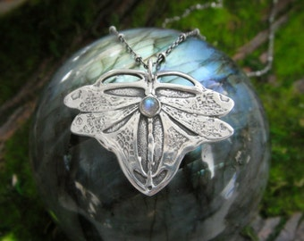 Dragonfly Necklace - Art Nouveau Dragonfly - Artisan Handcrafted with Recycled Silver - Silvan Arts - Fairy Jewelry