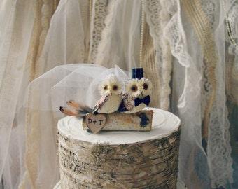 Owls wedding cake topper-fall wedding-Barn owls cake topper-Rustic cake topper-Rustic wedding-OWLS