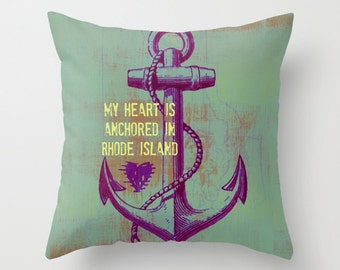 Heart Anchored in Rhode Island Anchor Typography Throw Pillow Nautical Mariner Home Decor