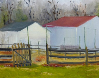 Barn Landscape Oil Painting New Jersey