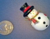 Cute painted wooden snowman pin