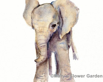 elephant nursery decor, watercolor painting, elephant art print, elephant watercolor print, elephant baby shower gift, elephant watercolor