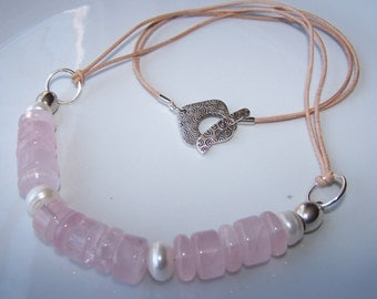 Rose Quartz Necklace with Leather and Freshwater Pearls