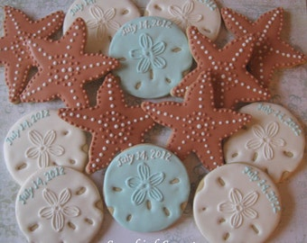 Starfish and Personalized Sand Dollar Cookies (1 dozen)