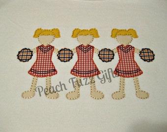 Cheerleader Applique Shirts for Girls, Team Spirit Shirts, Girls Applique Shirt, Personalized Shirts for Girls