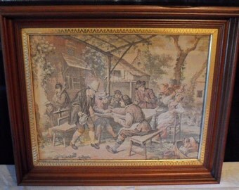 Antique European French Victorian Tapestry/Textile Wall Art/Antique Wood Frame/Home Decor