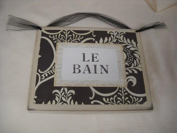 Le Bain Wooden Wall Art Sign Bathroom Decor Plaques Paris