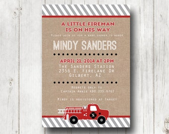 Fireman BABY SHOWER Invitation, Fire fighter shower, fireman burlap invitation, firemen, boy baby shower, printable invite