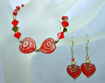 Valentine's Day Bracelet, Red Hearts, Swarovski, Vemeil, Gold Fill, Gift SET for Her, Red n Gold Jewelry