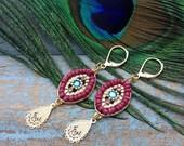 Boho Chic Golden Gypsy Eye Drop Pendant Style Dangle Earrings