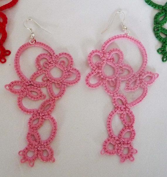 Tatting earrings - handmade jewelry - lace earrings - Bridesmaid - Wedding -gift for birthday