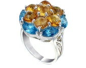 Yellow Citrine And Blue Topaz Multi Color Gemstone 925 Sterling Silver Ring, Big Size Gemstone Ring,  The Diameter is 22 mm (  MN 937 )