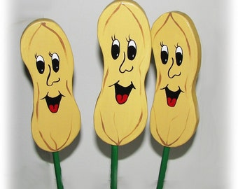 Peanut - Double Sided Wooden Garden Personality Plant Marker -Gift for the gardener
