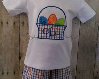 Boy's Easter Egg Basket Top with Monogram and Multi-Plaid Shorts Outfit Size 12M-18M, 2T-5T, 6
