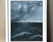 "Art Print - ""Sea Storm"" -  Print of Acrylic Painting - 8x10"