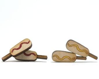Corn Dog Earrings - Handmade - Laser Cut- Laser Cut Jewelry - Summer