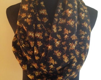 New Floral Long Infinity Scarf, Black, Brown and Yellow, I Love This One!