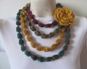 Bubble Necklace In Multicolor, Puff Stitch Bubble Scarf Necklace, Usa Seller