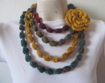 Bubble Necklace In Multicolor, Puff Stitch Bubble Scarf Necklace