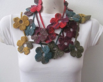 Crocheted Flower Scarf Lariat In Multicolored, Flower Scarf Necklace